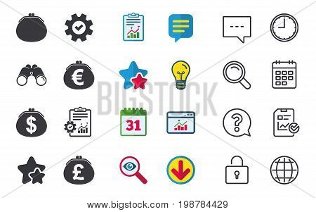Wallet with Dollar, Euro and Pounds currency icons. Cash bag signs. Retro wealth symbol. Chat, Report and Calendar signs. Stars, Statistics and Download icons. Question, Clock and Globe. Vector