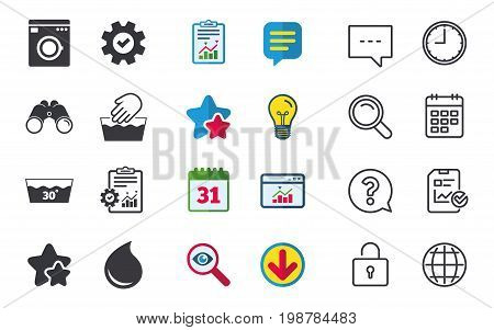 Hand wash icon. Machine washable at 30 degrees symbols. Laundry washhouse and water drop signs. Chat, Report and Calendar signs. Stars, Statistics and Download icons. Question, Clock and Globe. Vector