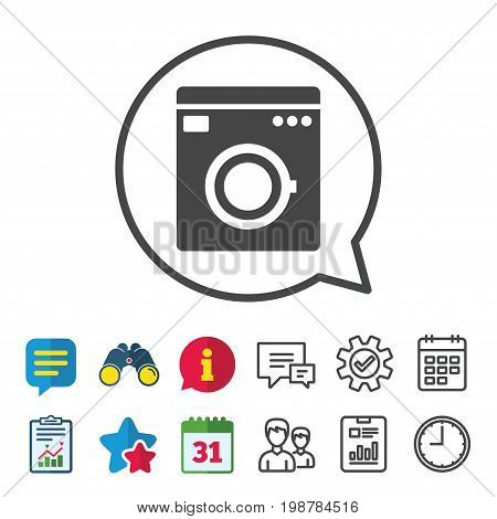 Washing machine icon. Home appliances symbol. Information, Report and Calendar signs. Group, Service and Chat line icons. Vector