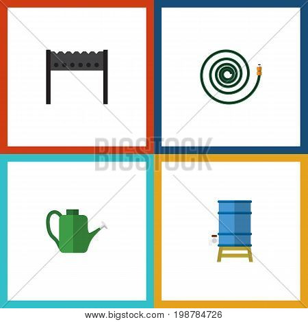 Flat Icon Garden Set Of Barbecue, Container, Hosepipe And Other Vector Objects