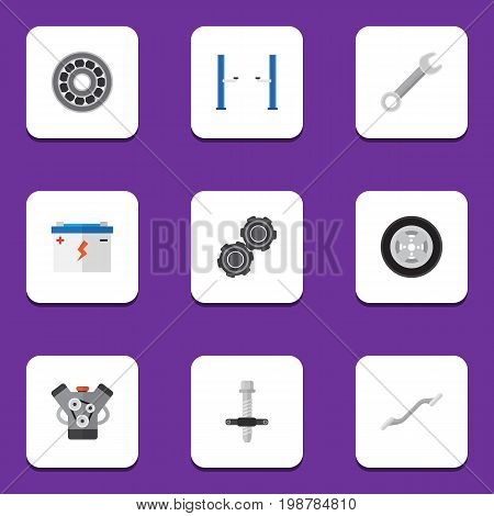 Flat Icon Workshop Set Of Brake Disk, Belt, Accumulator And Other Vector Objects