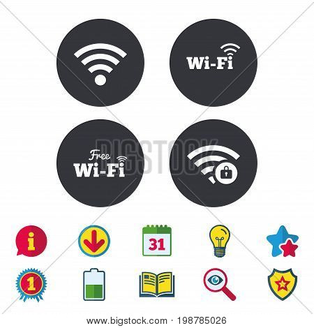 Free Wifi Wireless Network icons. Wi-fi zone locked symbols. Password protected Wi-fi sign. Calendar, Information and Download signs. Stars, Award and Book icons. Light bulb, Shield and Search. Vector
