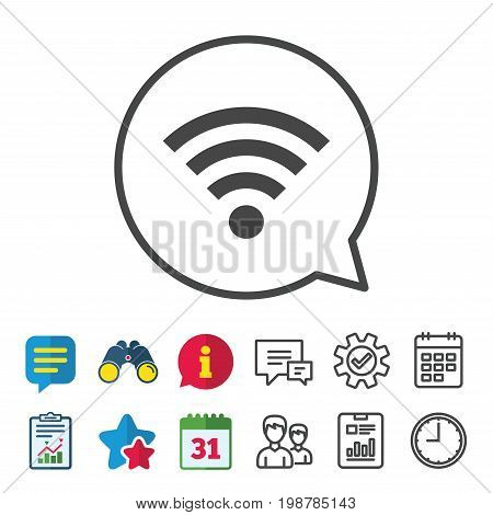 Wifi sign. Wi-fi symbol. Wireless Network icon. Wifi zone. Information, Report and Calendar signs. Group, Service and Chat line icons. Vector
