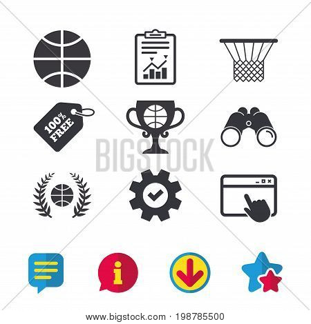 Basketball sport icons. Ball with basket and award cup signs. Laurel wreath symbol. Browser window, Report and Service signs. Binoculars, Information and Download icons. Stars and Chat. Vector
