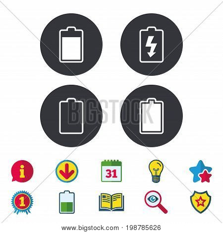 Battery charging icons. Electricity signs symbols. Charge levels: full, empty. Calendar, Information and Download signs. Stars, Award and Book icons. Light bulb, Shield and Search. Vector