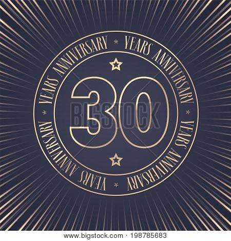 30 years anniversary vector icon logo. Graphic design element with golden stamp with number for 30th anniversary ceremony