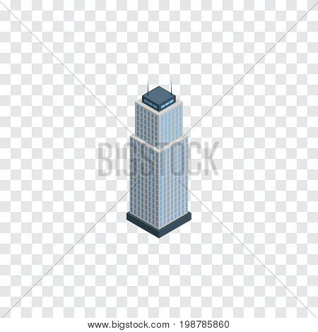 Tower Vector Element Can Be Used For Apartment, Tower, Cityscape Design Concept.  Isolated Apartment Isometric.