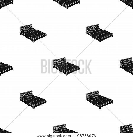 Pink bed for little legs.Bed with pink linens.Bed single icon in black style vector symbol stock web illustration.