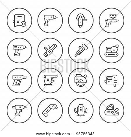 Set round line icons of electric tools isolated on white. Vector illustration