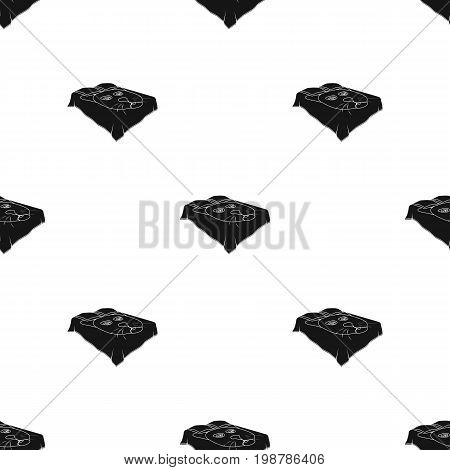 A bed with a black coverlet.Bed with a black cat on the blanket.Bed single icon in black style vector symbol stock web illustration.