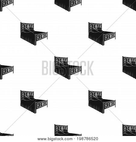 Wooden bed for teenager with graffiti on the back.Bed with blue linens.Bed single icon in black style vector symbol stock web illustration.