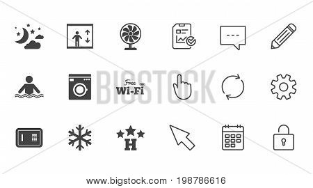 Hotel, apartment service icons. Washing machine. Wifi, air conditioning and swimming pool symbols. Chat, Report and Calendar line signs. Service, Pencil and Locker icons. Click, Rotation and Cursor