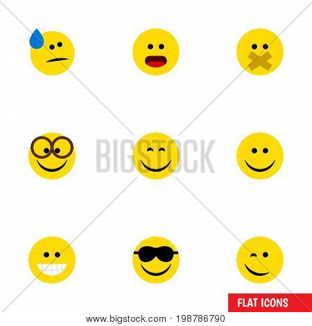 Flat Icon Emoji Set Of Happy, Joy, Hush And Other Vector Objects