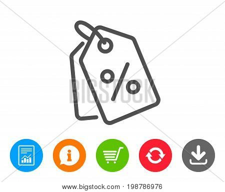 Shopping tags line icon. Special offer sign. Discount coupons symbol. Report, Information and Refresh line signs. Shopping cart and Download icons. Editable stroke. Vector