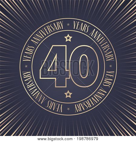 40 years anniversary vector icon logo. Graphic design element with golden stamp with number for 40th anniversary ceremony