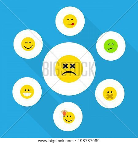 Flat Icon Face Set Of Smile, Hush, Have An Good Opinion And Other Vector Objects