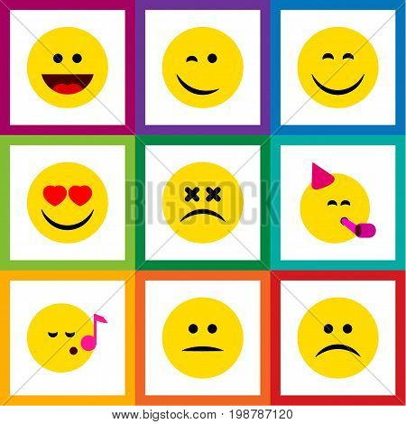 Flat Icon Face Set Of Party Time Emoticon, Displeased, Descant And Other Vector Objects