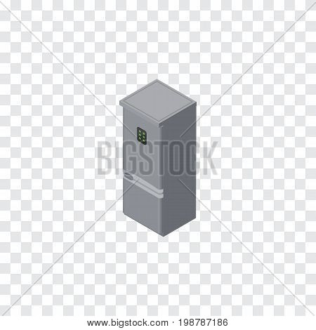 Kitchen Fridge Vector Element Can Be Used For Refrigerator, Fridge, Kitchen Design Concept.  Isolated Refrigerator Isometric.