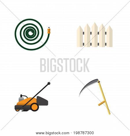 Flat Icon Garden Set Of Lawn Mower, Cutter, Wooden Barrier And Other Vector Objects