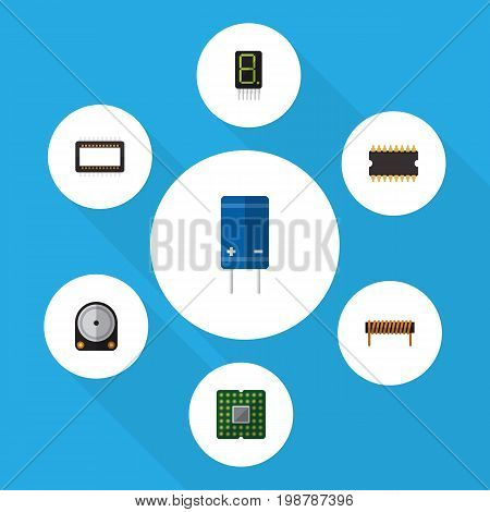 Flat Icon Appliance Set Of Display, Bobbin, Unit And Other Vector Objects