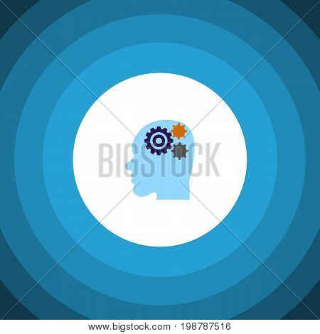 Invention Vector Element Can Be Used For Thinking, Gear, Human Design Concept.  Isolated Thinking Flat Icon.