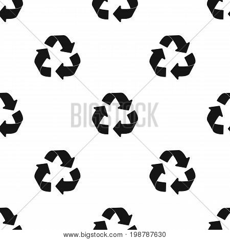 recycling sign icon in black design isolated on white background. Bio and ecology symbol stock vector illustration.