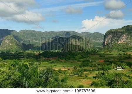 View on the valley Vinales in which the tobacco plant from which he is produced is being planted best in the world cigars Cuba Pinar del Rio province