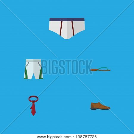 Flat Icon Garment Set Of Underclothes, Male Footware, Cravat And Other Vector Objects