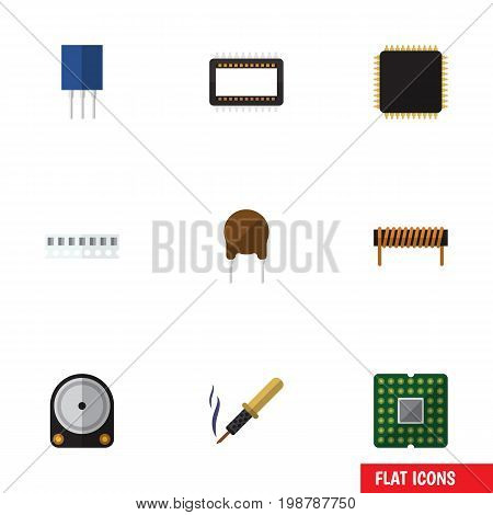 Flat Icon Device Set Of Mainframe, Bobbin, Memory And Other Vector Objects