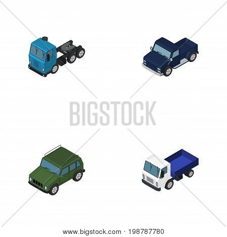 Isometric Transport Set Of Lorry, Suv, Armored And Other Vector Objects