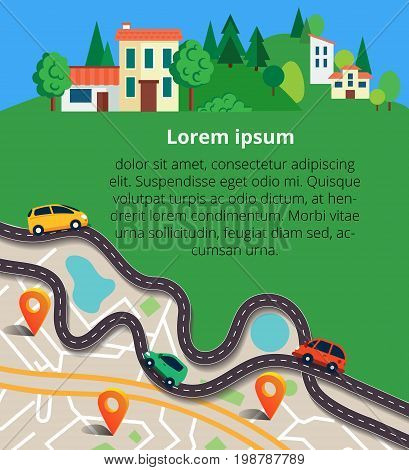 Vector illustration can used for web banner and info graphic.Top view city map with winding roads. Street Map with navigation icons. Navigation concept.