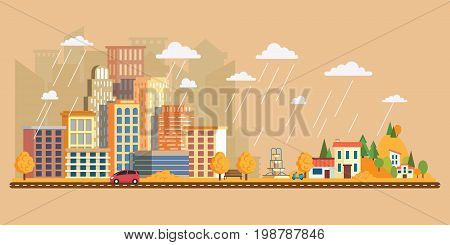 Vector illustration in flat style, urban landscape with large skyline with private houses on a background hills. Autumn landscape in a cloudy day. Asphalt road with cars.Leaf fall with rain
