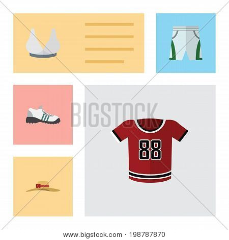 Flat Icon Garment Set Of Sneakers, Elegant Headgear, T-Shirt And Other Vector Objects