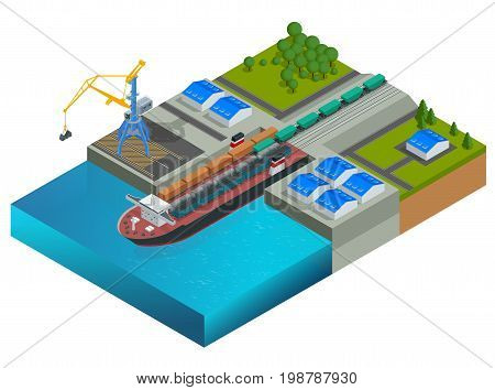 Isometric railway dock, a ferry carrying train wagons. Train on the ferry. Transportation of large loads by sea. Global logistics network. Vector ferryboat.