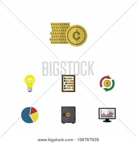 Flat Icon Finance Set Of Chart, Cash, Bubl And Other Vector Objects
