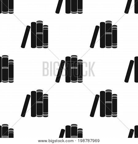 Standing books icon in black design isolated on white background. Books symbol stock vector illustration.