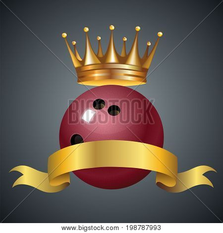 Bowling king champion symbol with a golden crown on a red plastic bowling ball. Vector illustration.