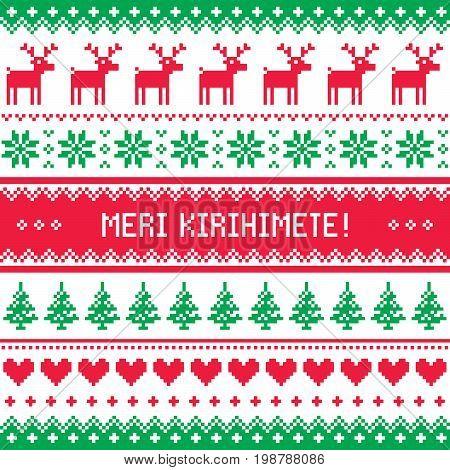 Merry Christmas in Maori - New Zealand pattern - Meri Kirihimete