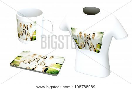 a white coffee cup, mousepad and t-shirt with a family photo printed on them. concept for photo printing services.