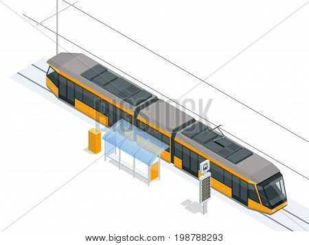 Tram on the stop. Tram stop isometric icon set vector graphic illustration. Vector city Subway train collection. Vehicles designed to carry large numbers of passengers