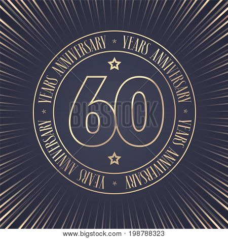 60 years anniversary vector icon logo. Graphic design element with golden stamp with number for 60th anniversary ceremony