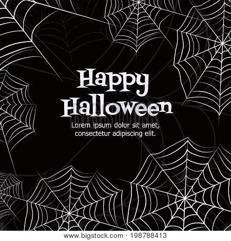 Spider web. Black and white vector bacground for halloween