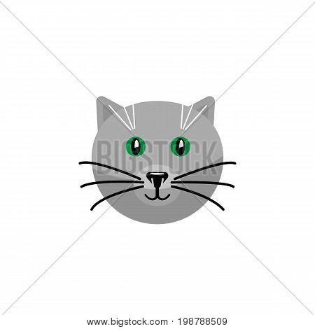 Kitty Vector Element Can Be Used For Cat, Pussy, Kitty Design Concept.  Isolated Cat Flat Icon.
