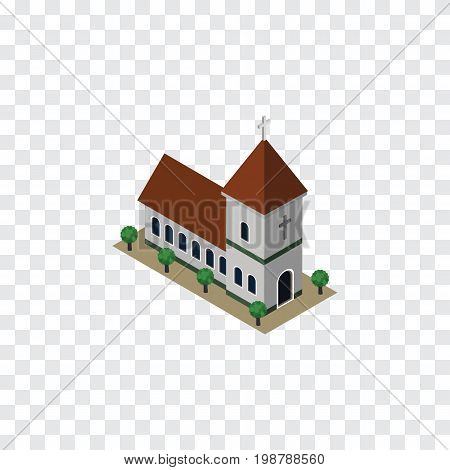 Chapel Vector Element Can Be Used For Church, Chapel, Catholic Design Concept.  Isolated Church Isometric.