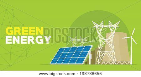 green energy power plant vector illustration design
