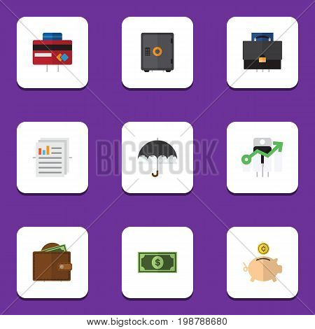 Flat Icon Gain Set Of Parasol, Money Box, Portfolio And Other Vector Objects