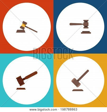 Flat Icon Hammer Set Of Legal, Justice, Tribunal And Other Vector Objects
