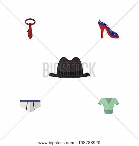 Flat Icon Dress Set Of Cravat, Casual, Underclothes And Other Vector Objects