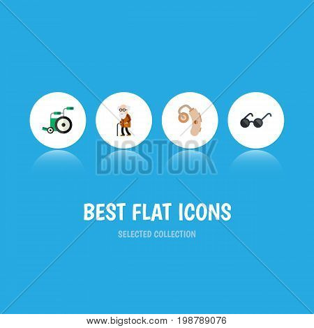 Flat Icon Handicapped Set Of Equipment, Audiology, Ancestor And Other Vector Objects