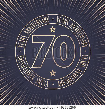 70 years anniversary vector icon logo. Graphic design element with golden stamp with number for 70th anniversary ceremony
